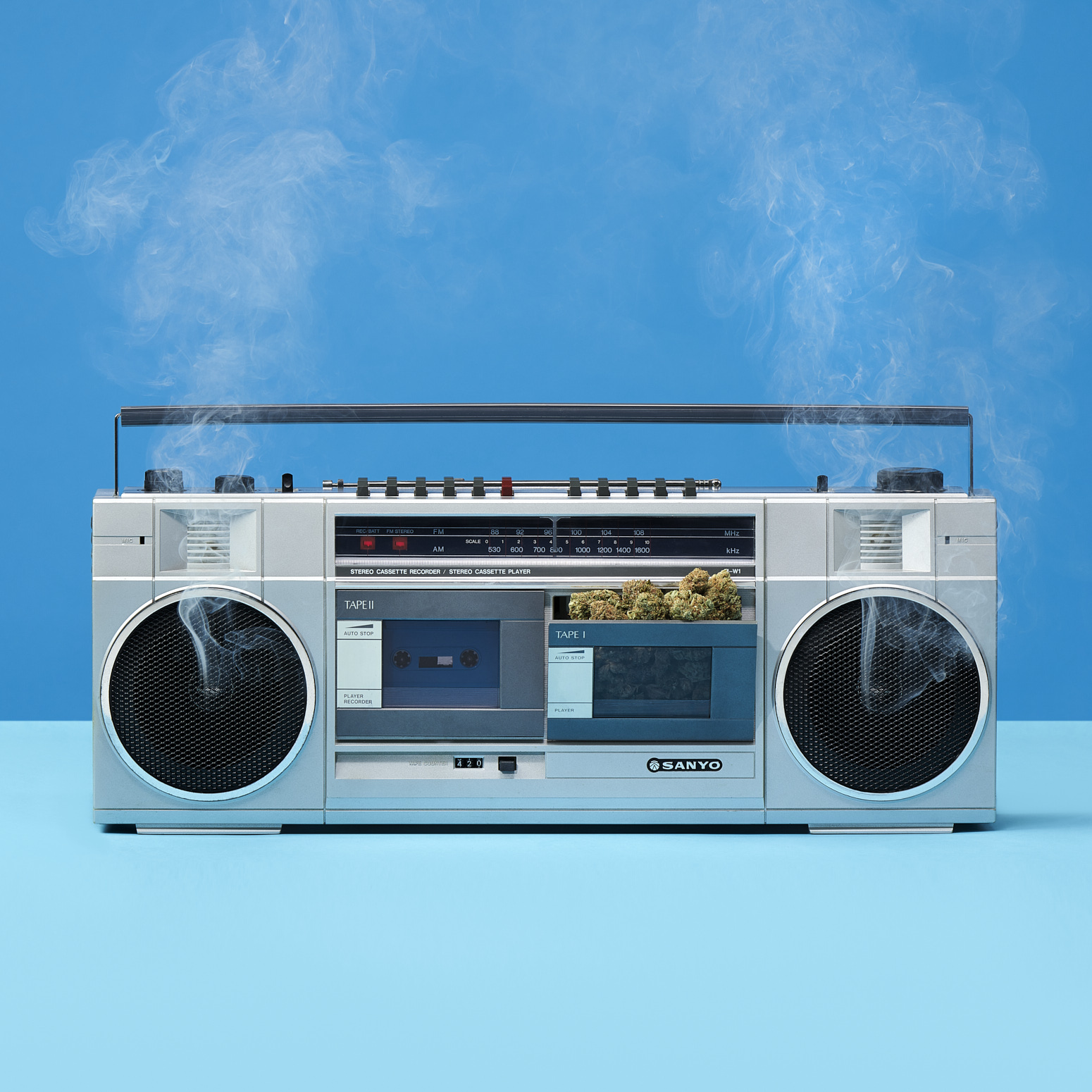 Boom Box Smoking Weed  by Jessica Stewart Prop Stylist Specializing in Cannabis Imagery and Styling