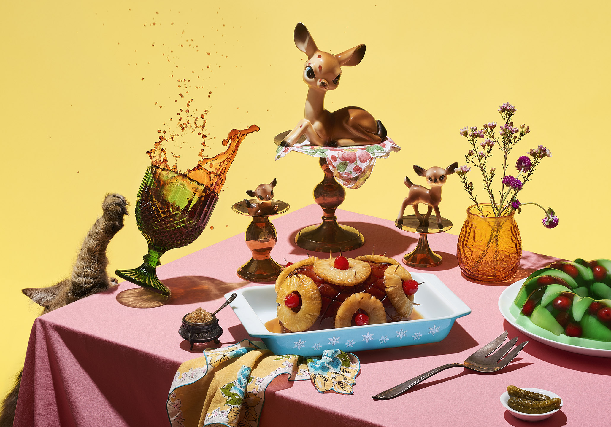 Deer Grandmas Dinner Party StillLife PDN Award winner  styled by Jessica Stewart Prop Stylist Specializing in conceptual Imagery and Styling