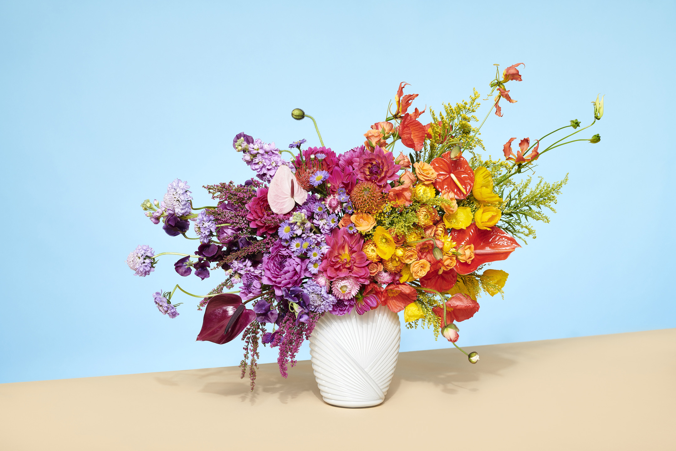 Rainbow floral arrangement by Jessica Stewart stylist