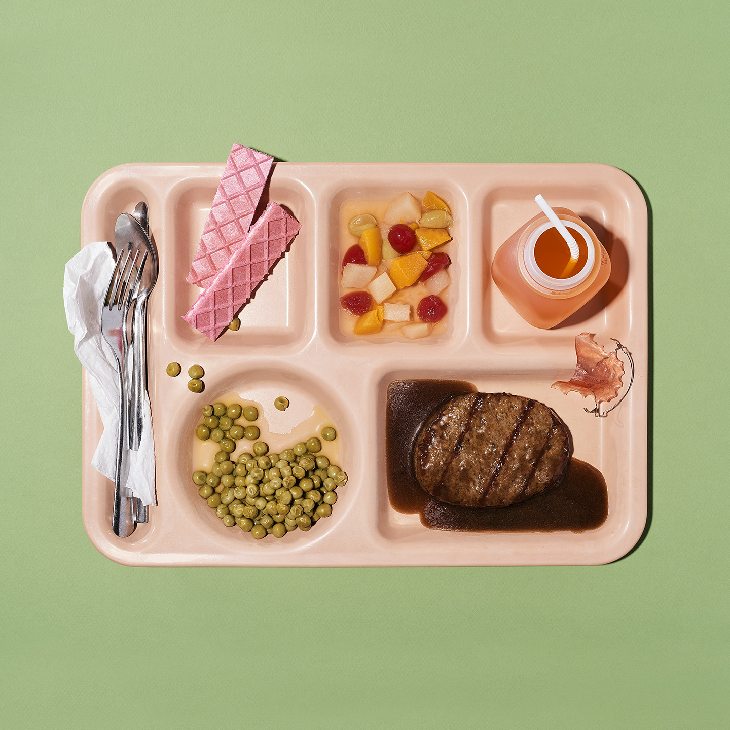 SchoolLunchMysteryMeat Vice school lunch last supper styled by Jessica Stewart Prop Stylist Specializing in food styling Imagery and set design, and conceptual art